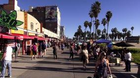 Gente que camina en la playa LOS ÁNGELES de Venecia almacen de metraje de vídeo