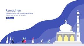 Gente que camina a la mezquita más cercana para Ramadan Prayer ilustración del vector