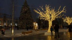 Gente que camina y que pasa por las luces y humor del árbol de navidad en la calle principal en el centro de ciudad Lapso de tiem almacen de video