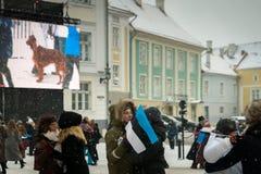 Gente que celebra 100 años de independencia de Estonia en el castillo de Toompea Foto de archivo