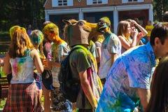 Gente que celebra durante el tiro del color en el festival o de Holi Imagen de archivo libre de regalías