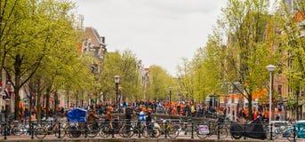 Gente que celebra en el collage 2013 de Koninginnedag Fotografía de archivo libre de regalías