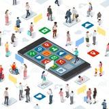 Gente que conecta el vector Infographic isométrico de Smartphone Imagen de archivo