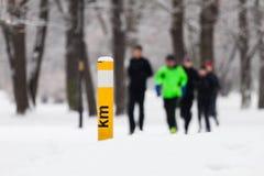 Gente que corre en parque del invierno foto de archivo