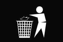 Gente que descarga basura en el fondo blanco del blanco del backgroundon stock de ilustración