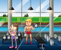 Gente que ejercita en la gimnasia libre illustration