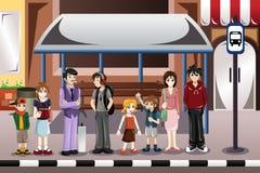 Gente que espera un autobús stock de ilustración