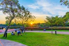 Gente que estira y que calienta en el parque de Benjakitti en la puesta del sol Imágenes de archivo libres de regalías
