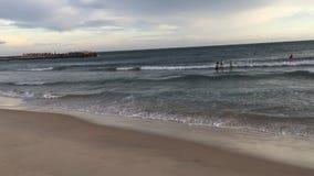 Gente que goza en la playa en la puesta del sol almacen de metraje de vídeo