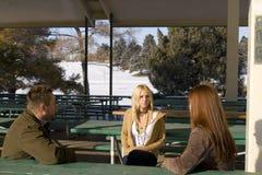 Gente que habla en el parque Fotografía de archivo