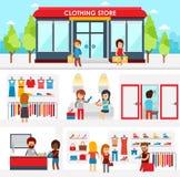 Gente que hace compras en la tienda de ropa Interior de la tienda Diseño colorido del ejemplo del vector, elementos infographic,  stock de ilustración