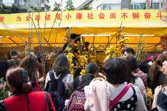 : Gente que hace compras en mercado de la flor Foto de archivo libre de regalías