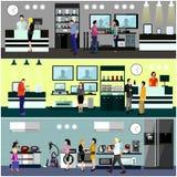 Gente que hace compras en un concepto de la alameda Interior de la tienda de los productos electrónicos de consumo Ilustración co Fotos de archivo