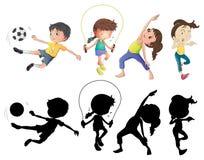 Gente que hace diversos deportes fijados con la silueta ilustración del vector