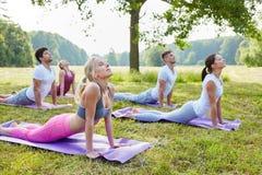 Gente que hace ejercicio de la yoga en parque Imagen de archivo