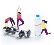 gente que hace ejercicios del deporte en pesas de gimnasia libre illustration