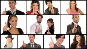 Gente que hace el collage de los pulgares-para arriba almacen de metraje de vídeo
