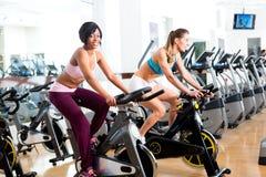 Gente que hace girar en el gimnasio en las bicicletas foto de archivo libre de regalías