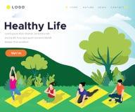 Gente que hace la yoga por la mañana en el parque, ilustraciones isométricas de la vida sana stock de ilustración