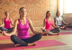 Gente que hace yoga Foto de archivo