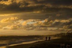 Gente que juega con el perro en la playa en la puesta del sol foto de archivo