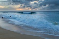 Gente que juega en la playa con las ondas grandes en la orilla del norte de Oahu imagen de archivo libre de regalías
