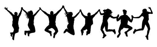 Gente que lleva a cabo las manos en una silueta del salto Imagen de archivo libre de regalías