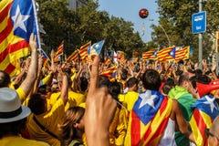Gente que manifiesta en Cataluña Fotografía de archivo libre de regalías