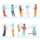 Gente que mira las pinturas que cuelgan en el sistema de la pared, visitantes de la exposición que ven el objeto expuesto del mus ilustración del vector
