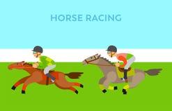 Gente que monta vector a caballo, de los hombres y de los caballos stock de ilustración