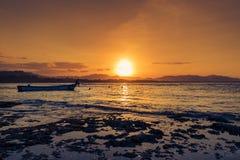Gente que nada en la playa en Puerto Viejo de Talamanca, Costa Rica, en la puesta del sol imagen de archivo libre de regalías