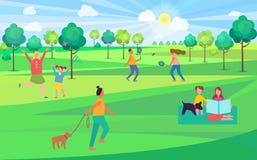Gente que pasa el tiempo libre en el ejemplo del parque libre illustration