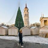 Gente que pasa por el mercado de la Navidad en Vilna Fotos de archivo libres de regalías