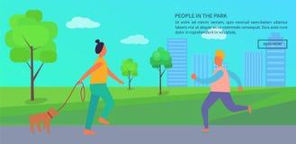 Gente que pasa tiempo en cartel del parque con el texto libre illustration