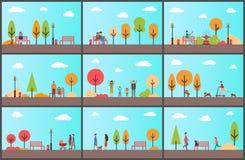 Gente que pasa tiempo en el parque que camina junto stock de ilustración