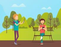Gente que pasa tiempo en el parque, hombre que se sienta en banco libre illustration