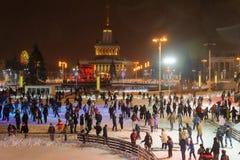 Gente que patina en el parque el invierno cerca Fotos de archivo