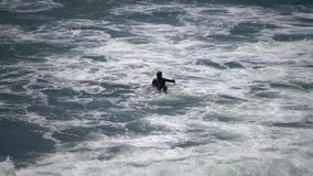 Gente que practica surf en la playa hermosa del sello