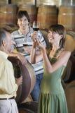 Gente que prueba el vino en sótano Imágenes de archivo libres de regalías