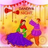 Gente que realiza la danza de Garba en el diseño de la bandera del cartel para la noche de Dandiya stock de ilustración