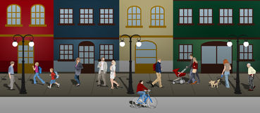 Gente que recorre abajo de la calle Imagenes de archivo