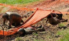Gente que se arrastra a través del fango mientras que compite en un funcionamiento del fango Imágenes de archivo libres de regalías