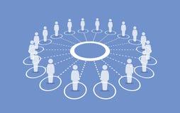 Gente que se coloca alrededor de un círculo que conecta con cada otros stock de ilustración