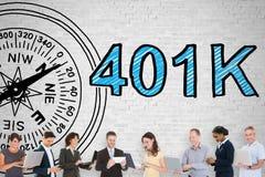 Gente que se coloca en plan de jubilación de Front Of 401k fotografía de archivo libre de regalías