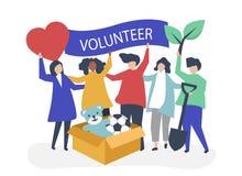 Gente que se ofrece voluntariamente y que dona el dinero y artículos a una causa caritativa ilustración del vector