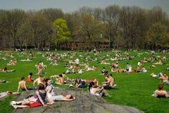 Gente que se relaja en Central Park Imagen de archivo libre de regalías