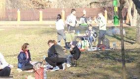 Gente que se relaja en la hierba en el parque almacen de video