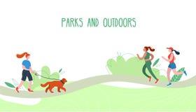 Gente que se relaja en naturaleza en un parque urbano hermoso Figuras planas del aire libre wolking humano libre illustration