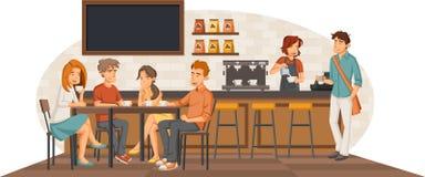 Gente que se sienta en una cafetería stock de ilustración