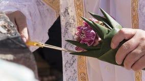 Gente que sostiene loto rosado y que enciende la vela y el incienso Foto de archivo libre de regalías